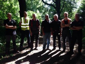 Derek and the Coastal Tree Care team pose in the late afternoon sun after ground workers' training